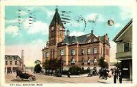 Vintage Postcard - 1924 City Hall Brockton White Boarder Massachusetts #3115