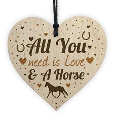 Horse Gifts For Girls Women Wooden Heart Stable Door Plaque Daughter Christmas