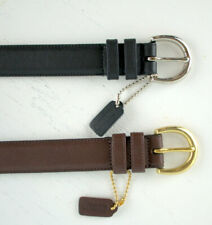 """2 Coach Black and Brown Leather Belts Size 32 Medium Hang Tags Attached 1"""" Wide"""