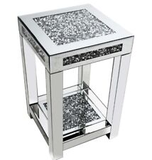Luxury Mirrored side table with crushed diamond top, Mirrored sparkle lamp table