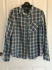 Womens Fred Perry Size 8 Blue Checkered Button Down Shirt