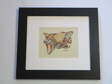 FINEST EMERY GELLERT PAINTING ANTIQUE ART DECO DRAWING WILDLIFE BARKING DOG 1920