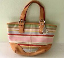 Coach 4434 Striped Fabric Hampton Tote Handbag Purse Bag Small Canvas Leather