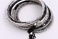 New Stella & Dot Celine Wrapped Bracelet Silver Black Beaded Tassel