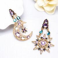1Pair Drop Earrings Long For Star Moon Women Crystal Gift Sun and Dangle