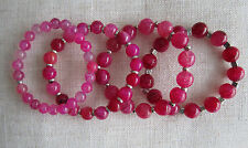 Pink, Dragon Veins Agate Gemstone Bead Bracelets.