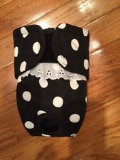 Female dog diaper-panties-QUILTED-Washable- LARGE DOTS ON BLACK by angelpuppi