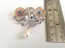 Art Nouveau Spring Goddess Flower Fairy lady Pearl Brooch Pin Sterling Silver