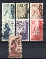 ITALIA REGNO COLONIE, A.O.I., SOGGETTI, 1937 POSTA AEREA SASS 1-2, 4-6, 8-9 USAT