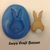 Silicone Mould Spring Easter Bunny Rabbit 3 Flowerpaste Cupcake Pop Topper Fimo