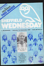 Sheffield Wednesday v Blackpool Programme- Sept 1 1973