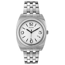 PULSAR PXDA05 MEN'S DRESS WHITE DIAL DATE STAINLESS STEEL WATCH