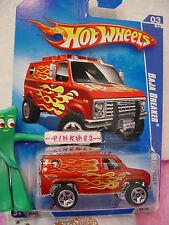 2009 Hot Wheels BAJA BREAKER #119~Burnt Orange-Red Ford Van; or5 ~Heat Fleet