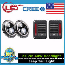 7inch LED Halo Angel Eyes Headlight + Rear Brake Tail Light For Jeep JK Wrangler