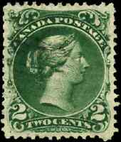 Canada #24b used VF 1868 Queen Victoria 2c deep green Large Queen 2-ring cancel