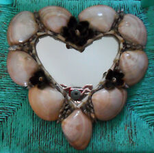 One-of-a-Kind Heart-Shaped MIRROR w/ SHELLS, Flowers-Like Handmade in California