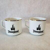 Pair of Vintage Walt Disney Productions Disneyland Park Gold Trim Coffee Mugs