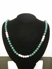 Necklace 8mm Faux Pearl, & Dyed Green Quartz Beads, Hand Knotted