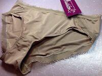 Women Panties,Bikinis ILUSION Size S. Mocha Beige Soft Silky Shiny W/Decoration