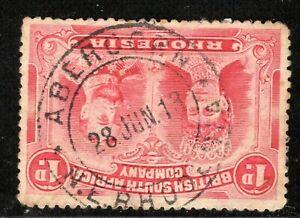 RHODESIA BSACo Stamp Double Head 1d  *ABERCORN* CDS Postmark 1913 OBLUE53