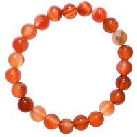 Premium CHARGED Carnelian Agate Crystal 8mm Bead Bracelet Stretchy ENERGY REIKI