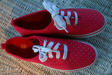 FADED GLORY Canvas Lace Up Sneakers Shoes~Red w/ Silver Dots~Womens 11~MINT