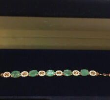Natural Green Emerald,White Cz Bracelet,925Sterling Silver,14ct Rose Gold Plated