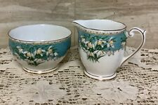 Vintage  Queen Anne English Bone China Sugar Bowl & Creamer Marilyn  Snowdrop