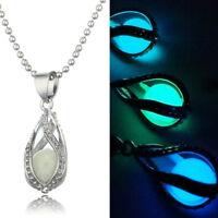 Luminous Teardrop Necklace Glow in Dark Chain Pendant Necklace Women Jewelry  R