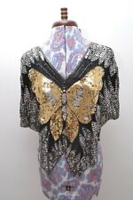 Beautiful Vintage Heavily Sequinned / Beaded Silk Butterfly Design Evening Top