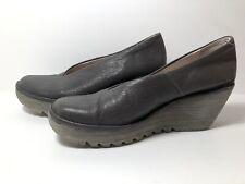 Fly London Yaz Wedge Leather Shoes Grey Bronze Womens Slip On Size 39 6 UK 8 US