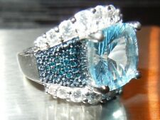 Natural blue Topaz and Genuine Blue Diamonds RING in 925 Sterling Silver