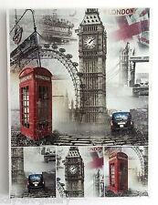 Wall Picture Plaque , Vintage Retro style Handmade / London / Decoupage