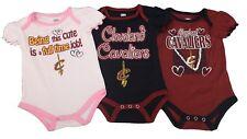 NBA Cleveland Cavaliers Official Girls Infant Size 3 Piece Creeper Bodysuit Set