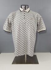 Reebox Vintage 1980s  Polo Golf Shirt Cream Grey Geometric Print Mens Size Large