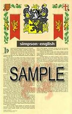 SIMPSON Armorial Name History - Coat of Arms - Family Crest GIFT! 11x17