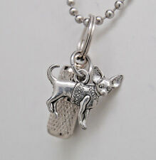 CHIHUAHUA CREMATION JEWELRY DOG URN NECKLACE MEMORIAL KEEPSAKE CYLINDER PET URN