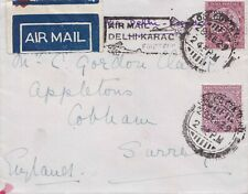 India  1929 Air mail Delhi to Karachi to England.