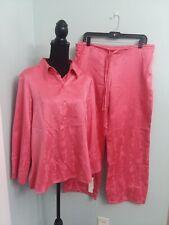 NWT NATORI CRUZ Untamed Sz M Pink Satin ASIAN Button Top Tie Pant PAJAMA SET