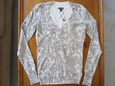 a016441ceee2 WOMEN EXPRESS Gray White V NECK Sweater KNIT TOP STRETCH Animal Print SMALL  New
