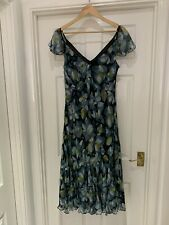 Monsoon Green Blue Teal Floral Chiffon Silk Size 18 Dress Summer Wedding Party