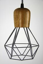The woodsman Diamond wood wire lamp Cage pendant cloth cord trouble light