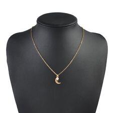 Women Small Moon Pearl Pendant Choker Necklace Jewelry