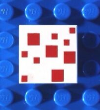 LEGO RED & WHITE MINECRAFT TILE ~ Printed 2x2 Pixel Pattern  NEW