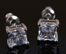 PRINCESS CUT DIAMOND STUD EARRINGS MAN MADE 3 CARAT SOLID PLATINUM