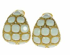 Kenneth J Lane Gold and White Large Clip-on Crystal Earrings