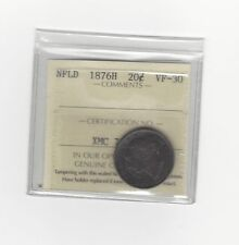 **1876H**, ICCS Graded Newfoundland, Silver ¢20 Cent, **VF-30**