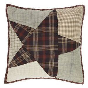 """ABILENE STAR QUILTED DECORATIVE 16x16"""" ACCENT PILLOW PLAID 5 POINT STAR"""