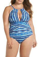 NEW La Blanca Swimwear Bamboo Plunge One-Piece Swimsuit Plus Size 16W Midnight