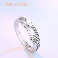 Fashion 925 Sterling Silver Rings Sparkly Love Peace Rings Adjustable Thumb